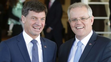 Energy Minister Angus Taylor and Prime Minister Scott Morrison.