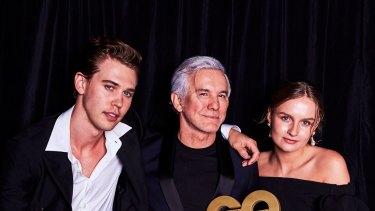 Baz Luhrmann with young starsAustin Butler - cast as Elvis Presley - and Olivia DeJonge - cast as Priscilla Presley.