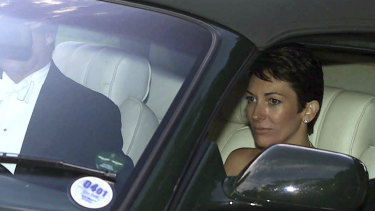 Ghislaine Maxwell, driven by Prince Andrew, leaves the wedding of a former girlfriend of the prince, Aurelia Cecil, near Salisbury, England, in 2000.