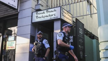 Police leave the Bondi Beach Backpackers after breaking up a public indoor gathering on last Friday.