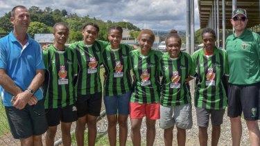 Monaro Panthers coach Ian Worthington (right)  on his recruitment trip to the Solomon Islands last year.