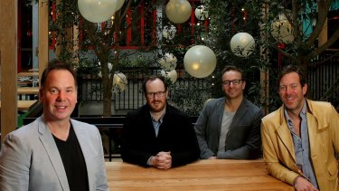 Four of the five Sand Hill Road group owners Andy Mullins, left, Tom Birch, Doug Maskiell and Matt Mullins at their CBD venue Garden State Hotel.