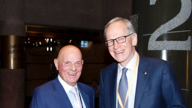 Lew and Wilson smile for the cameras at The Australian Financial Review's Sohn Hearts and Minds conference  in 2018.