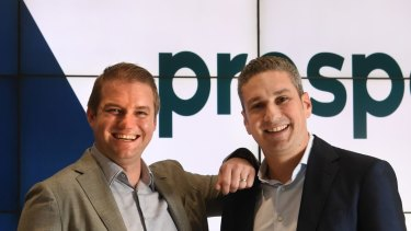 Beau Bertoli andGreg Moshal, Prospa joint CEOs, just before the fintech lender listed on the ASX at a 19 per cent premium to its offer price.