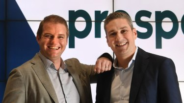 Beau Bertoli and Greg Moshal, Prospa's joint CEOs, just before the fintech lender listed on the ASX last month.