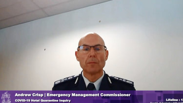 Victorian Emergency Management Commissioner Andrew Crisp at the inquiry into the state's hotel quarantine system.