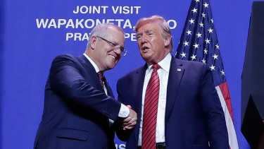 Scott Morrison and Donald Trump during the PM's visit to the United States last September. Mr Morrison confirmed about 300 Australian troops at the Taji base north of Baghdad would remain in place.