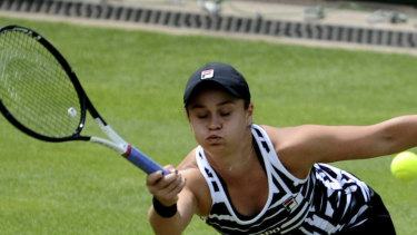Greentop: Ashleigh Barty during her win over Jennifer Brady.
