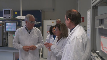 Johnson & Johnson's chief scientific officer Paul Stoffels talks to scientists at the company's Janssen Vaccines facility in Leiden, Holland.