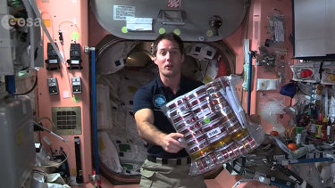 ESA astronaut Thomas Pesquet gives a tour of the International Space Station's kitchen and the special food will share with his crewmates in space on a 2016 mission,