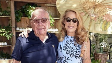 Rupert Murdoch and Jerry Hall at a barbecue lunch at their Moraga Vineyard in Bel Air in August.
