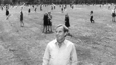 John Cain, in 1984 as Victorian Premier, standing on the site where the National Tennis Centre was to be built.