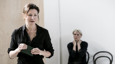 Hegh (left) in rehearsal with Ella Prince for A Room of One's Own.