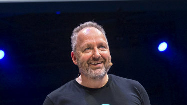 Rod Drury takes the stage at Xerocon in Brisbane.