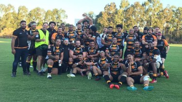 Penrith Emus celebrate after beating Parramatta earlier this year.