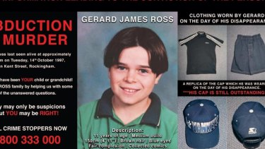 A police poster with information about Gerard's murder.