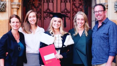 Peter Downey and wife Meredith with daughters (L-R) Rachael, Matilda, Georgia at Matilda's university graduation in 2017.