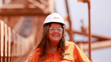 Diane Jurgens, BHP chief technology officer, at the Eastern Ridge innovation mine in Western Australia.
