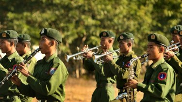 A Myanmar army band in the Kachin state in 2008.