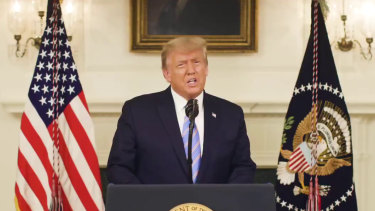 Trump's video message was the first time he has gone on camera to recognise Biden as the president-elect.
