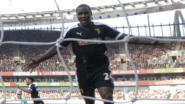 Odion Ighalo, seen here scoring for Watford in 2016, is being loaned by Shanghai Shenhua in the Chinese Super League.