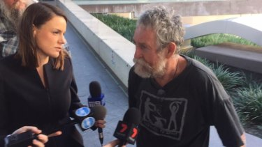 Guilty but unrepentent Catholic activist Jim Dowling outside Brisbane Magistrates Court.