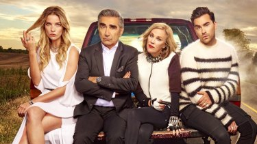 The family Rose: Annie Murphy as Alexis, Eugene Levy as Johnny, Catherine O'Hara as Moira and Daniel Levy as David.