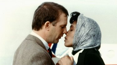 Kevin Costner and Whitney Houston in The Bodyguard.