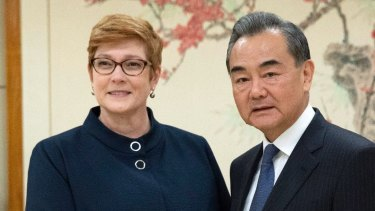 Marise Payne meets her Chinese counterpart Wang Yi at the United Nations in New York in September.