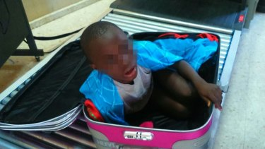 The Ivorian boy was carried in a suitcase by a young woman for about three hours before she was taken to border security authorities in Ceuta.