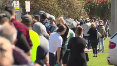People queue for COVID-19 testing in Shepparton.