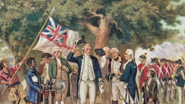 1st April 1770: A print from a painting showing Captain James Cook (1728-79) taking possession of New South Wales, taken from the collection of the Philosophical Institute of Victoria.