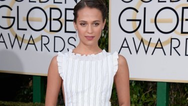 Alicia Vikander at this year's Golden Globes.