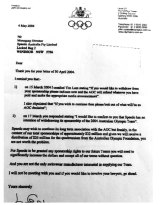 "A letter dated 4 May 2004 from Australian Olympic Committee chief John Coates to Olympic swimming team sponsor Speedo Australia telling them to ""butt out"" of a decision relating to swimwear at the 2004 Athens Olympics."