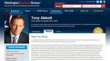 Mr Abbott's profile on the Washington Speakers Bureau website.