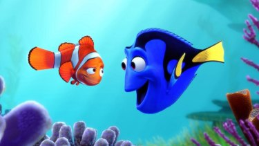 Dory and Marlin from Finding Nemo.