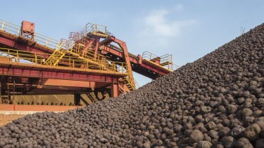 Iron ore prices have slumped by more than half in the past year.