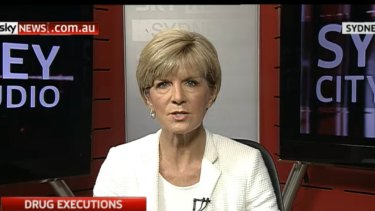 Foreign Minister Julie Bishop appeared on Sky News minus one important accessory.
