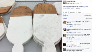 The Kmart Lovers Facebook page (not affiliated with Kmart) collates photos of items available in store, their price, and at which store they have been spotted.