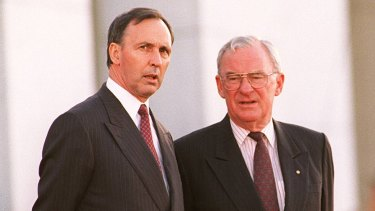 Bill Hayden and Paul Keating at the announcement of the new Governor-General Sir William Deane.