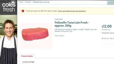 [Screenshot] Coles is selling yellowfin tuna cuts via its online shop.
