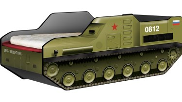 Russian furniture company CaroBus has drawn ire for selling a bed frame resembling the Buk surface-to-air missile system.
