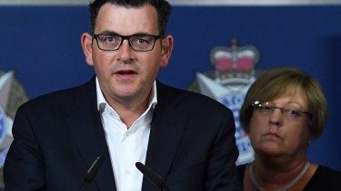 Premier Daniel Andrews address the media