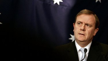 Peter Costello at the announcement of debt-free day in 2006.
