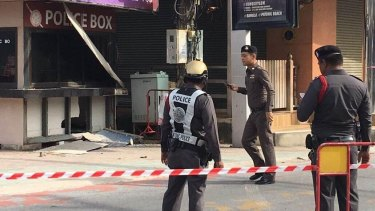 A police post at Patong, on Phuket Island, after the explosions.