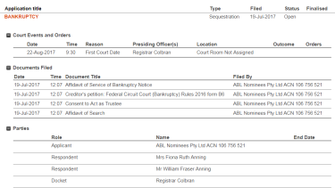 The Federal Court website listing the application.