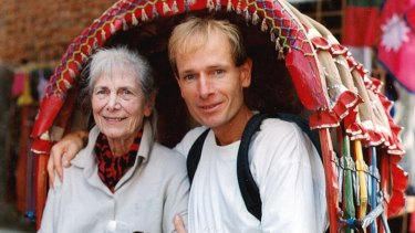 Sean Davison and his mother Patricia in Kathmandu in 2001, to celebrate her 80th birthday.