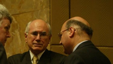 John Howard and Sinodinos during the 2004 election campaign.
