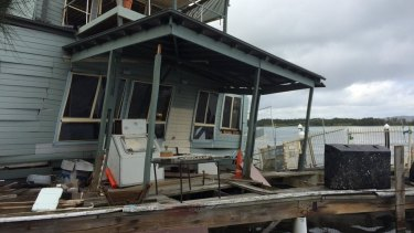 Milanos On The Lake has partially collapsed into Lake Macquarie.