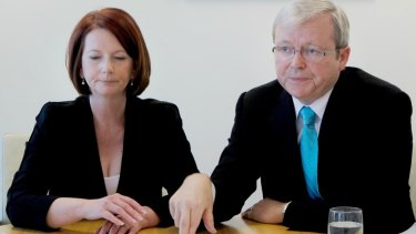 Former prime minister Kevin Rudd and Julia Gillard in an infamous appearance together after she replaced him as prime minister.
